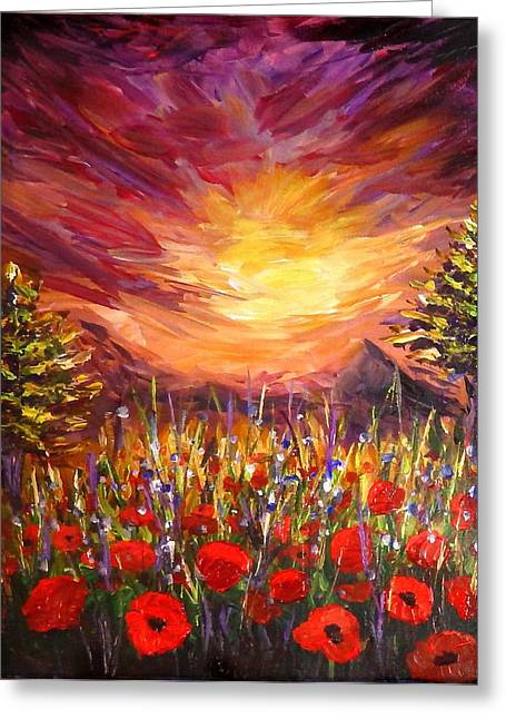 Hand Made Paintings Greeting Cards - Sunset in Poppy Valley  Greeting Card by Lilia D