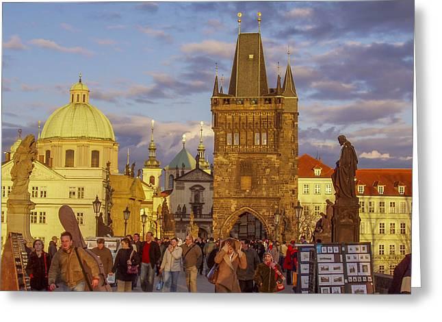 Statue Portrait Greeting Cards - Sunset in Prague Greeting Card by Raffi  Bashlian
