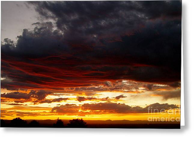 Lela Becker Greeting Cards - Sunset in red Greeting Card by LeLa Becker