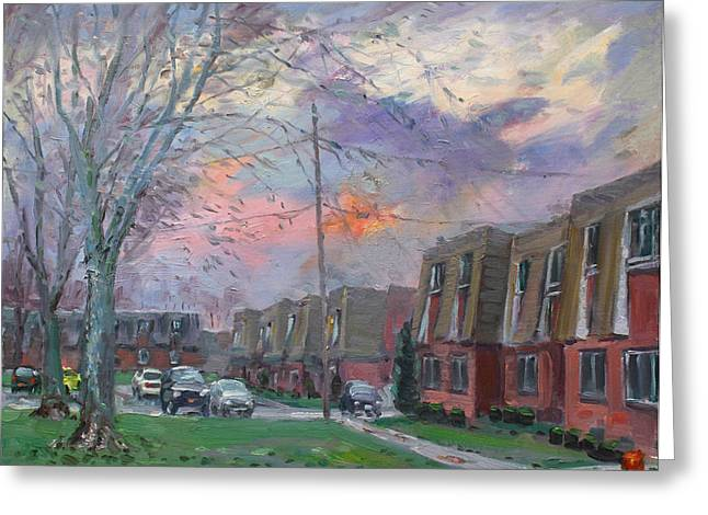Apartment Greeting Cards - Sunset in Royal Park Apartments Greeting Card by Ylli Haruni
