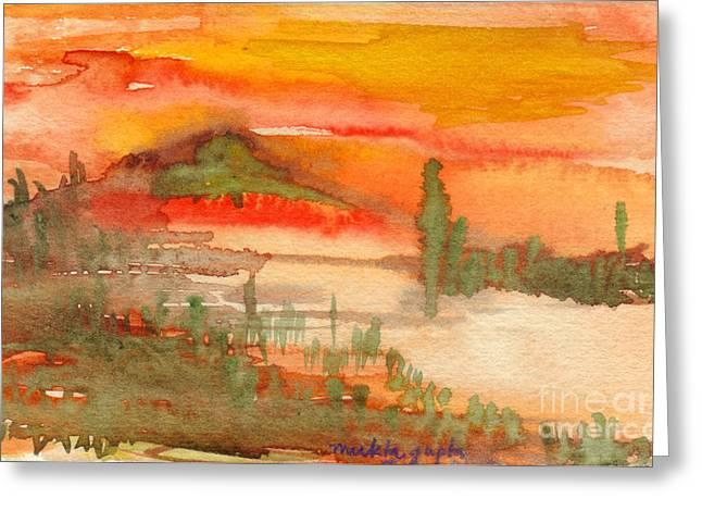 Sun Rays Paintings Greeting Cards - Sunset in Saguaro Desert  Greeting Card by Mukta Gupta