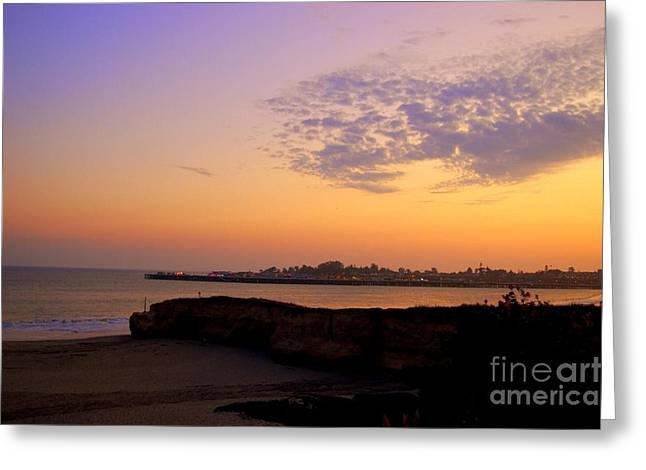 Surfing In Santa Cruz Greeting Cards - Sunset in Santa Cruz California  Greeting Card by Garnett  Jaeger