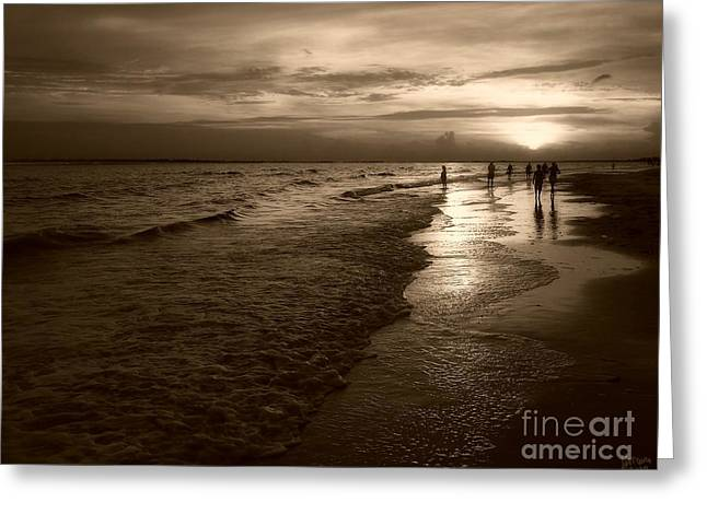 Fort Meyers Greeting Cards - Sunset In Sepia Greeting Card by Jeff Breiman