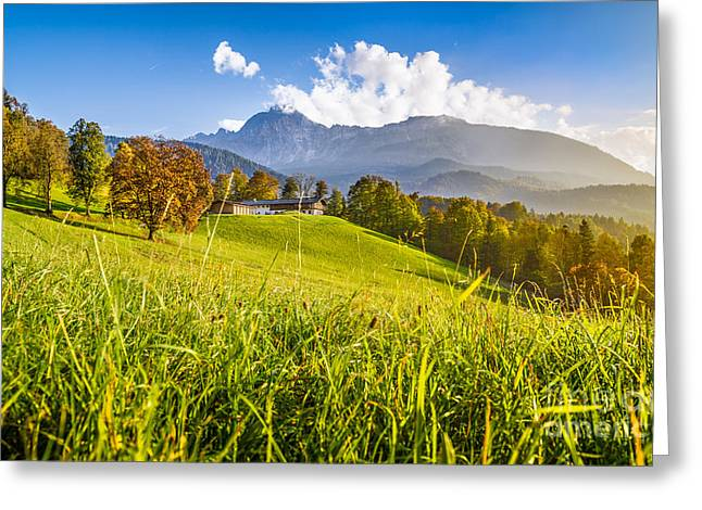 Hill Top Village Greeting Cards - Sunset in the Alps Greeting Card by JR Photography