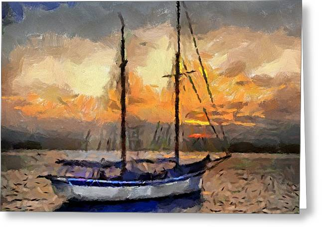 Sunset In The Bay Greeting Card by Dragica  Micki Fortuna
