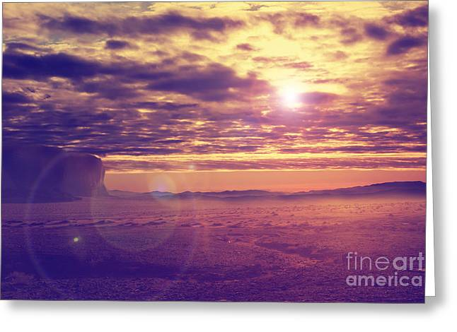 Glow Pyrography Greeting Cards - Sunset in the desert Greeting Card by Jelena Jovanovic