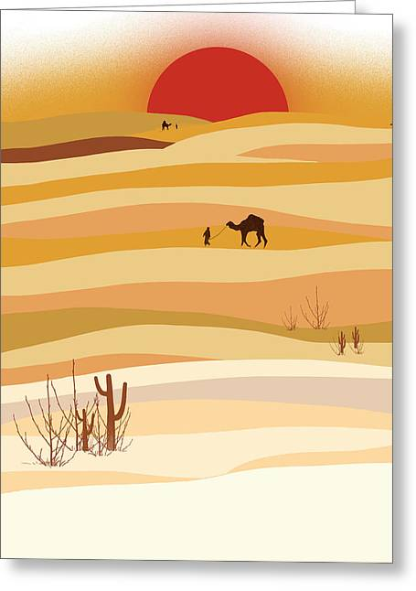 Cacti Digital Greeting Cards - Sunset in the desert Greeting Card by Neelanjana  Bandyopadhyay