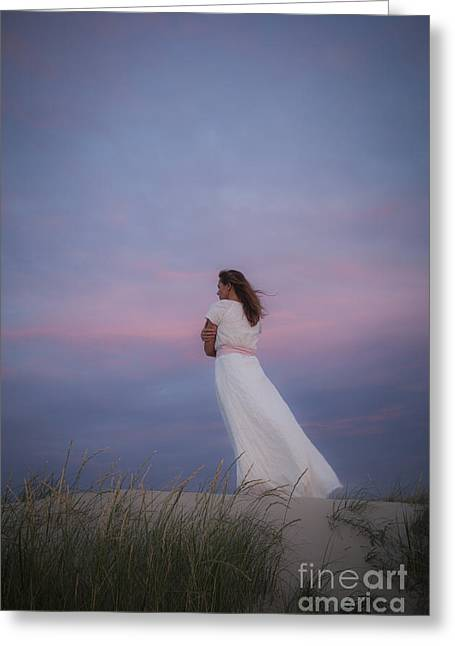 Pensive Greeting Cards - Sunset in the dunes Greeting Card by Maria Heyens