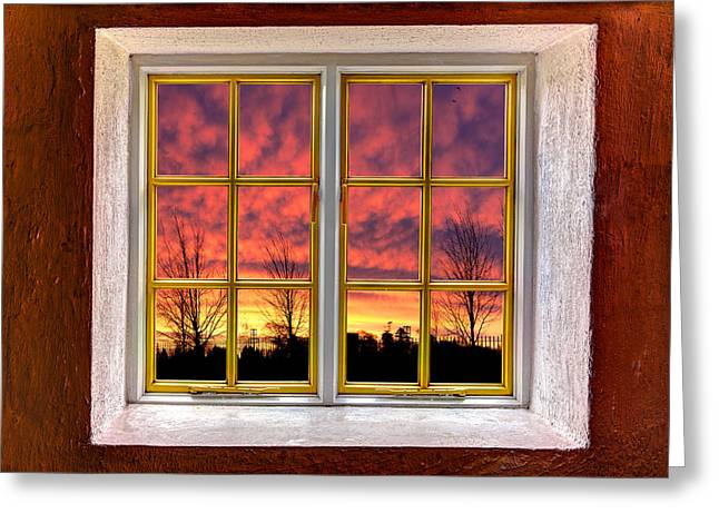 Looking Out The Window Greeting Cards - Sunset in the Garden Greeting Card by Semmick Photo