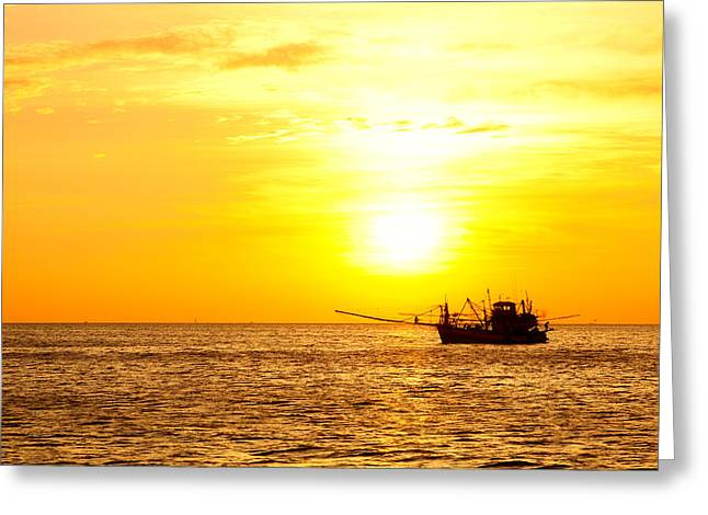 Light Tackle Greeting Cards - Sunset in the Gulf of Thailand Greeting Card by Alexey Stiop