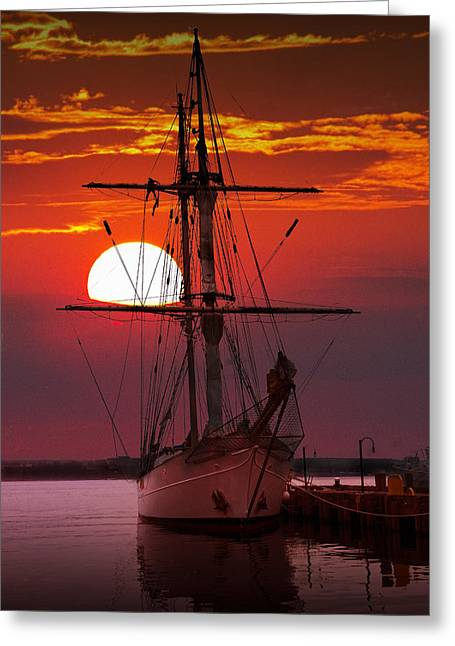 Boats In Harbor Greeting Cards - Sunset in the Harbor with a Tall Ship Greeting Card by Randall Nyhof