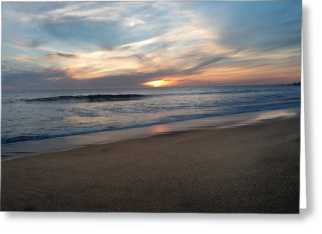 Sausalito Greeting Cards - Sunset over calm waters - Rodeo Beach Greeting Card by Henry Inhofer