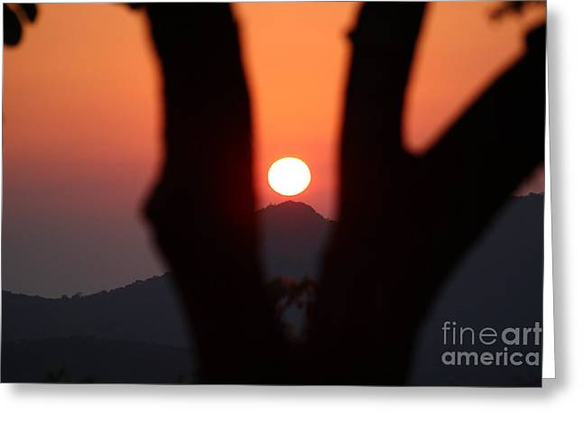 Bamboo House Greeting Cards - Sunset in the Mountains Greeting Card by Four Hands Art