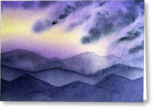 Sun Rays Paintings Greeting Cards - Sunset In The Mountains Greeting Card by Irina Sztukowski