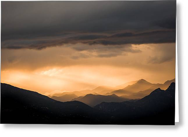 Newsom Greeting Cards - Sunset in the Mountains Greeting Card by Nila Newsom
