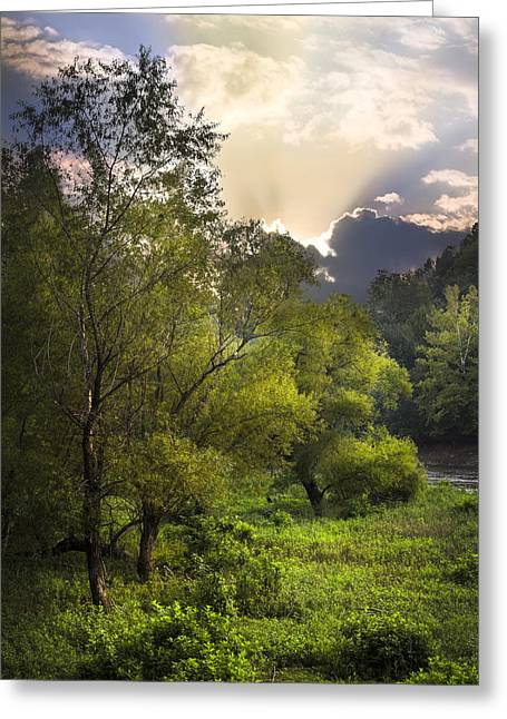 Autumn Leaf On Water Greeting Cards - Sunset in the Valley Greeting Card by Debra and Dave Vanderlaan