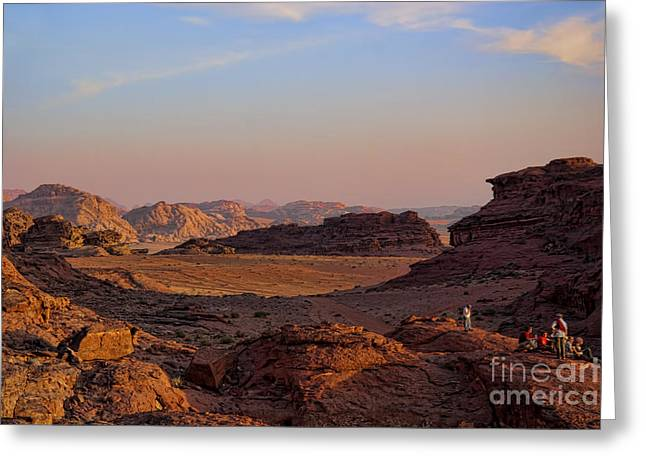 Jordan Photographs Greeting Cards - Sunset in the Wadi Rum Desert Jordan Greeting Card by David Smith