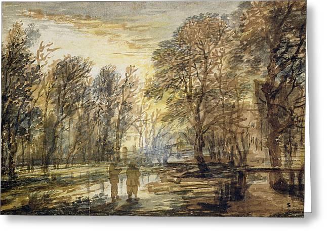 Sunset In The Wood Greeting Card by Aert van der Neer