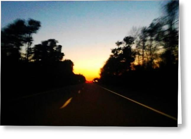 Driving Pyrography Greeting Cards - Sunset in the woods Greeting Card by David Art