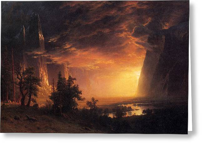 Amazing Sunset Greeting Cards - Sunset in the Yosemite Valley Greeting Card by Albert Bierstadt