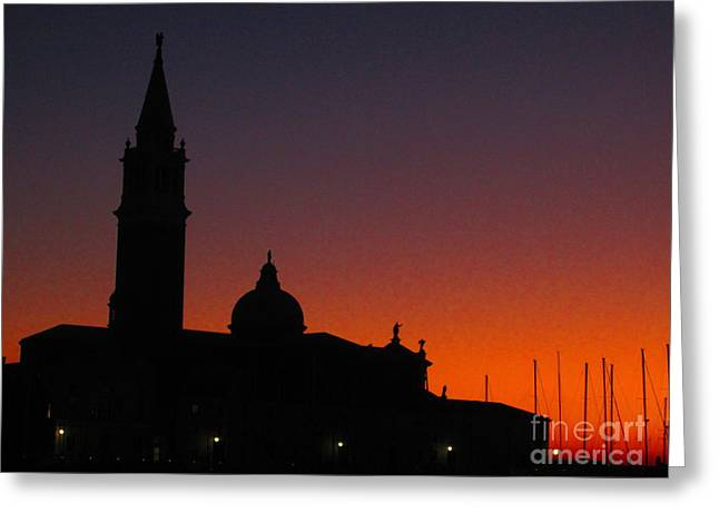 Sunset in Venice Greeting Card by C  Lythgo