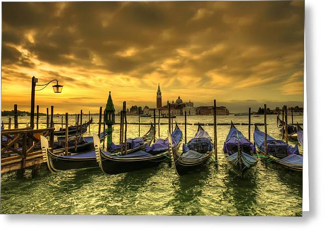 Historic Architecture Greeting Cards - sunset in Venice Greeting Card by Ioan Panaite