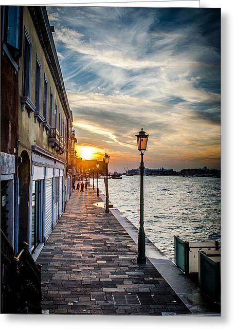 Sunset In Venice Greeting Card by Stefan Hoareau