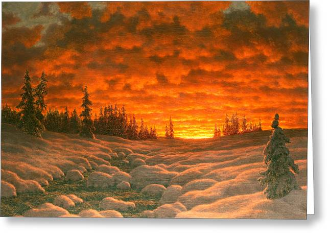 Ivan Greeting Cards - Sunset in Winter Greeting Card by Ivan Fedorovich Choultse