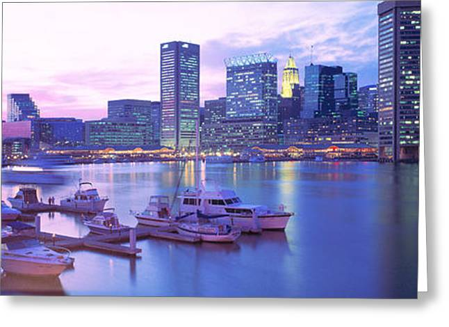 Md Greeting Cards - Sunset, Inner Harbor, Baltimore Greeting Card by Panoramic Images