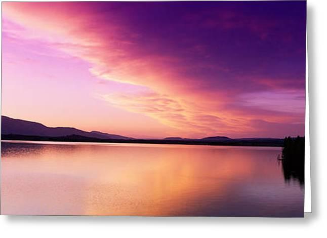 Wy Greeting Cards - Sunset Jackson Lake Grand Teton Greeting Card by Panoramic Images