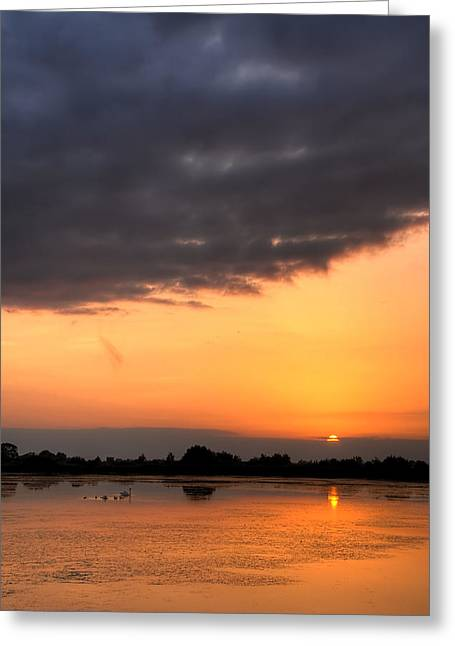 Sunset Greeting Card by Jaroslaw Grudzinski