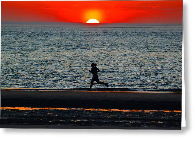 Runner Greeting Cards - Charleston sc Sunset Jogger Greeting Card by Ella Char
