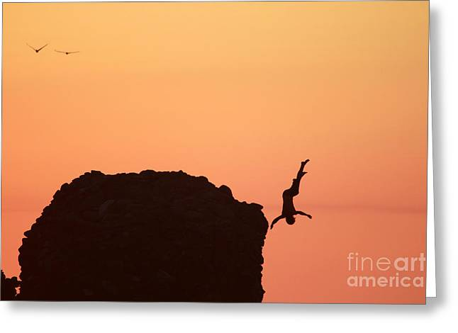 Beach Greeting Cards - Sunset Jump  Greeting Card by Stav Stavit Zagron