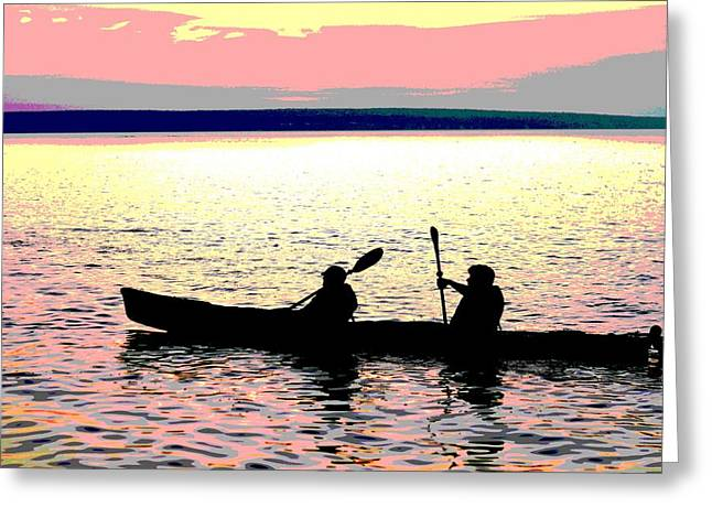 Sunset Posters Greeting Cards - Sunset Kayak Poster Greeting Card by Dan Sproul