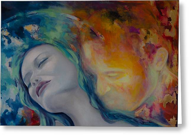 Couples Paintings Greeting Cards - Sunset Kiss Greeting Card by Dorina  Costras