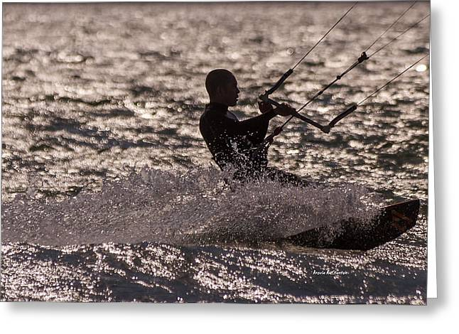 Kite Surfing Greeting Cards - Sunset Kite Surfer Greeting Card by Angela A Stanton