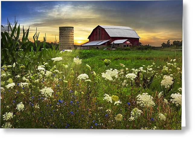 Silo Greeting Cards - Sunset Lace Pastures Greeting Card by Debra and Dave Vanderlaan