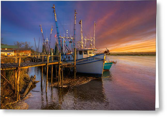 Docked Sailboats Greeting Cards - Sunset Lady Greeting Card by Debra and Dave Vanderlaan