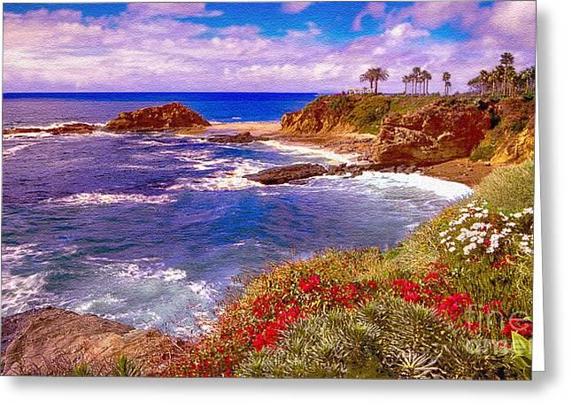 Nadine Greeting Cards - Sunset Laguna Beach California Greeting Card by  Bob and Nadine Johnston