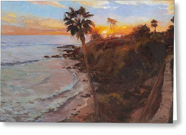 Heisler Park Greeting Cards - Sunset Laguna Beach Greeting Card by Kuen Tse