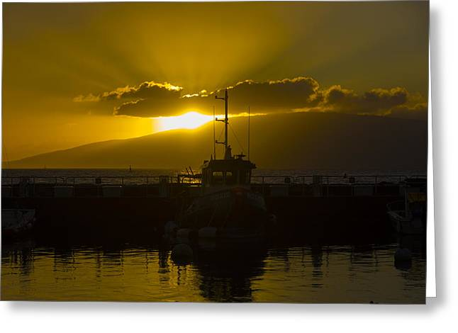 Sunset Lahaina Marina Greeting Card by Norman Blume