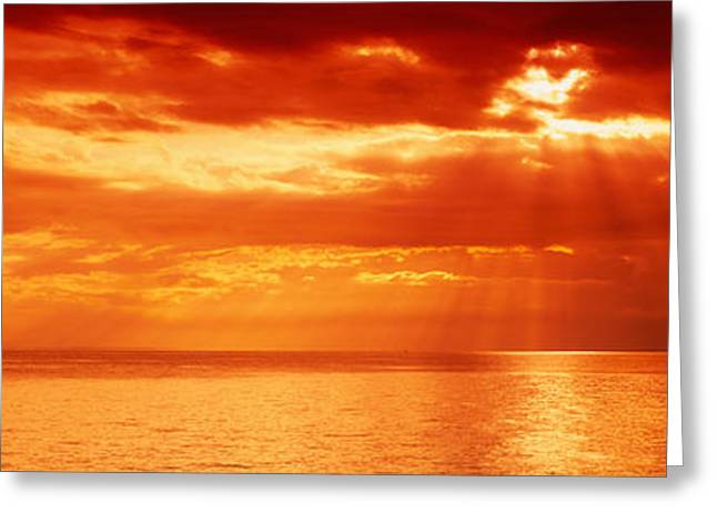 Radiates Greeting Cards - Sunset, Lake Geneva, Switzerland Greeting Card by Panoramic Images