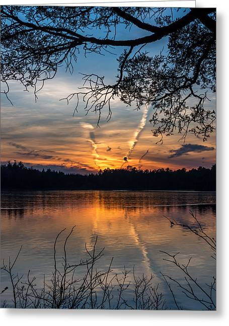 Colorful Sunset Greeting Cards Greeting Cards - Sunset Lake Horicon Lakehurst New Jersey Greeting Card by Terry DeLuco