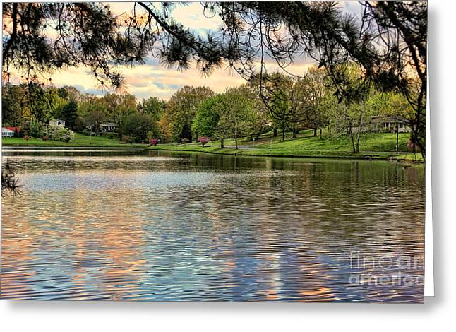 Tennessee Barn Greeting Cards - sunset lake I Greeting Card by Chuck Kuhn