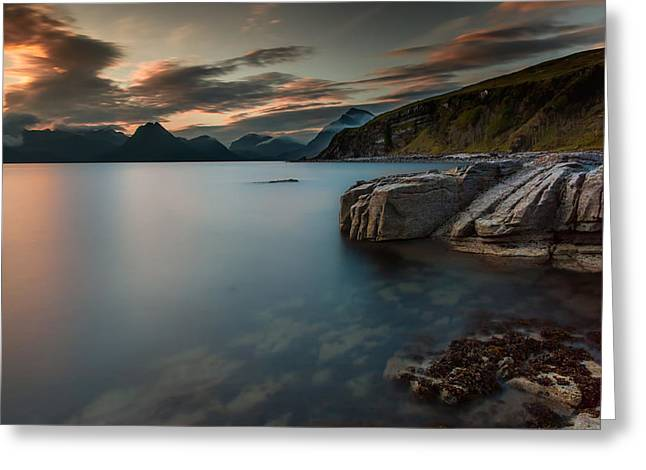 Smoothness Greeting Cards - Sunset Lake in Scotland Greeting Card by Mountain Dreams