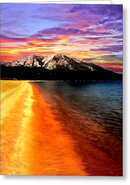Sunset Lake Tahoe Painting Greeting Card by Bob and Nadine Johnston
