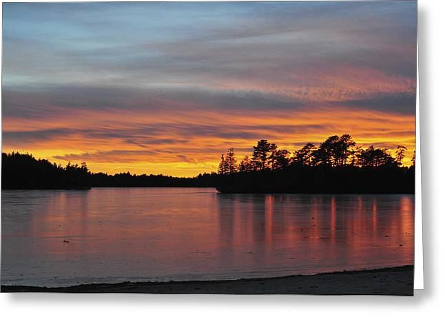 Bathroom Prints Greeting Cards - Sunset Lake Greeting Card by Terry DeLuco