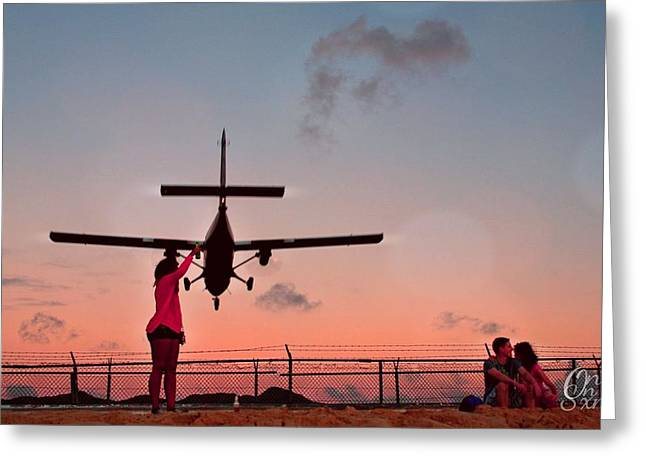 Airport Pyrography Greeting Cards - Sunset Landing  Greeting Card by Andrei Rochester