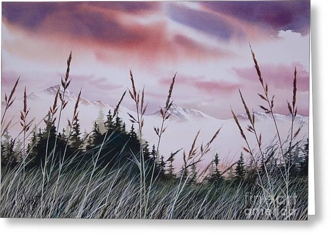 Sunset Greeting Cards Paintings Greeting Cards - Sunset Landscape Greeting Card by James Williamson
