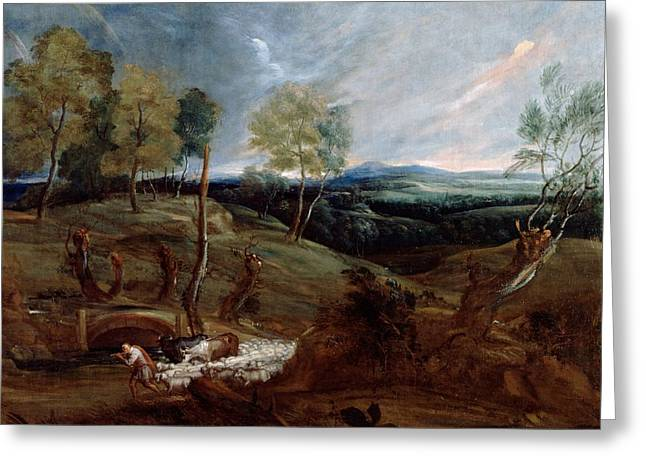 Dutch Shepherd Greeting Cards - Sunset Landscape with a Shepherd and his Flock Greeting Card by Anthony van Dyck